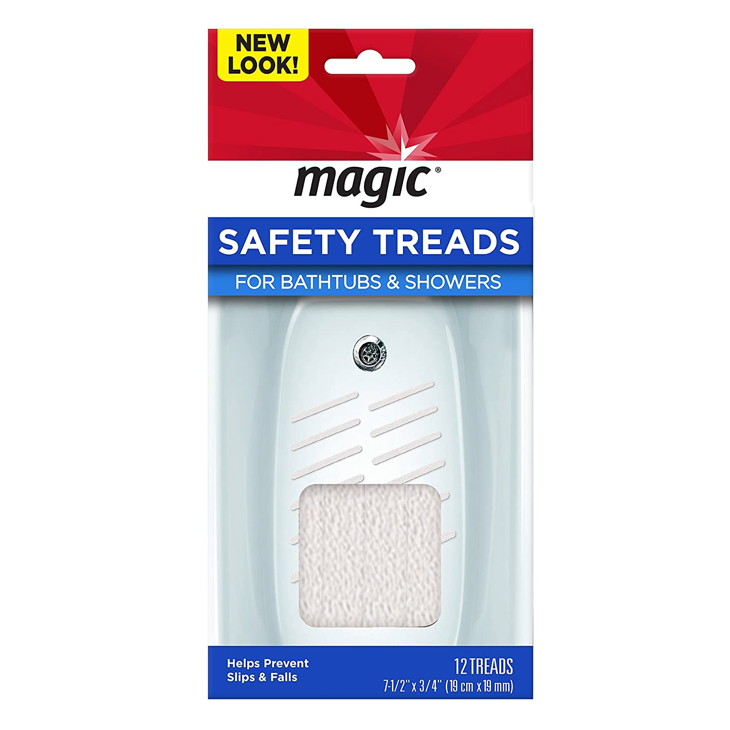 Magic Shower/Bathtub Safety Treads - Helps Prevent Slips and Falls - 12 Treads Weiman 3008