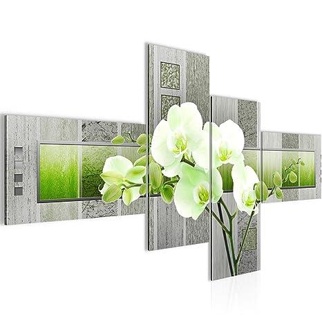 Bilder Blumen Orchidee Wandbild 150 x 60 cm Vlies - Leinwand Bild XXL  Format Wandbilder Wohnzimmer Wohnung Deko Kunstdrucke Grün 4 Teilig - MADE  IN ...