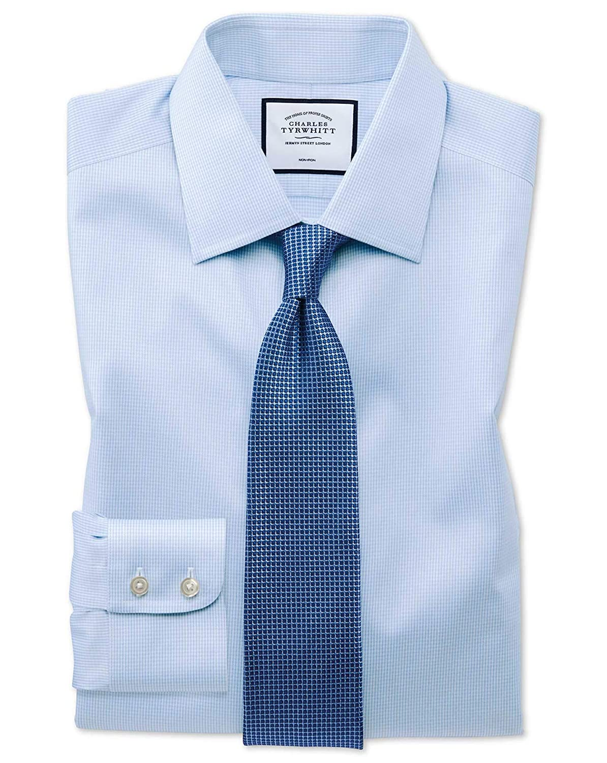 a46491d2 Charles Tyrwhitt Classic Fit Non-Iron Sky Blue Puppytooth Cotton Formal  Shirt Double Cuff: Amazon.co.uk: Clothing