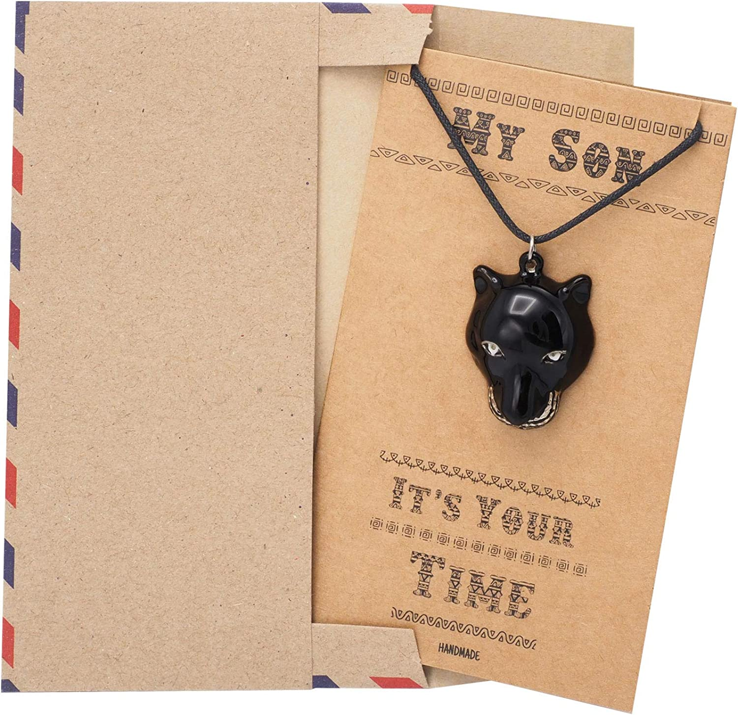 Cosplay Jewelry TChalla Collectibles Gifts for Him with Inspirational Quote on Greeting Card Quan Jewelry Black Panther Wakanda King Super Hero Inspired Necklace
