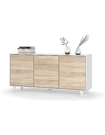 Aparador buffet estilo nórdico de 3 puertas, 6 estantes, color blanco brillo y roble
