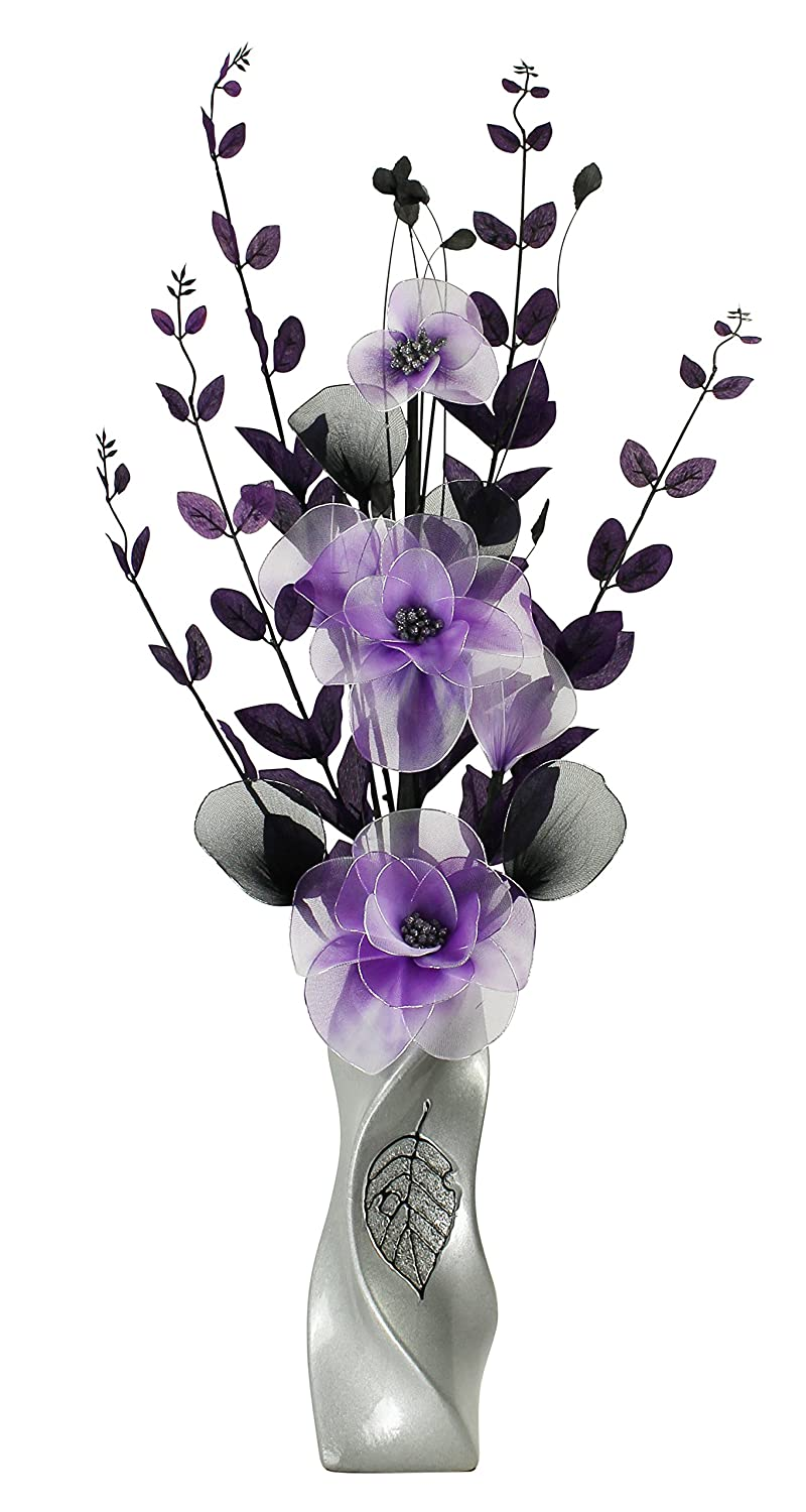 Black Vase with Purple and White Artificial Flower, Ornaments for Living Room, Window Sill, Home Accessories, 80cm Flourish 726317