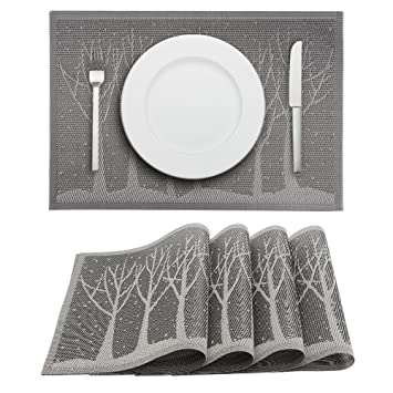 Delicieux Placemats Set Of 4 PVC Woven Vinyl Placemat For Dining Table Heat Resistant  Stain Resistant Kitchen