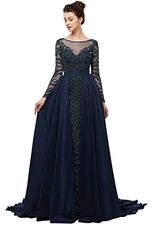 Heartgown 2018 Womens V Neck Crystal Long Prom Dress Sequins Beaded Evening Ball Gown Long Sleeve