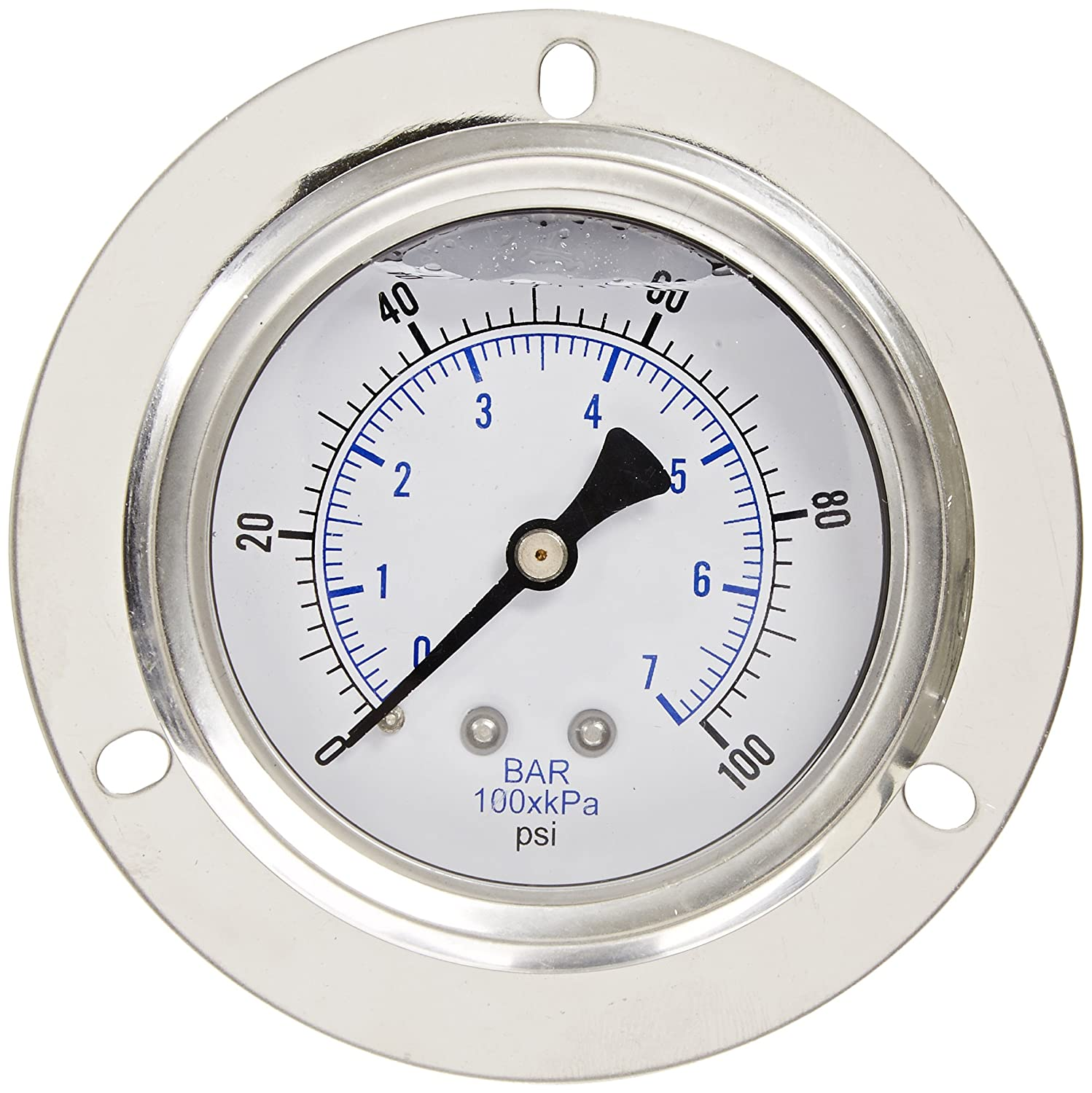 PIC Gauge PRO 204L 254E Glycerin Filled Industrial Front Flanged Panel Mount Pressure Gauge with Stainless Steel Case Brass Internals Plastic Lens 2 1 2 Dial Size 1 4 Male NPT 0 100 psi