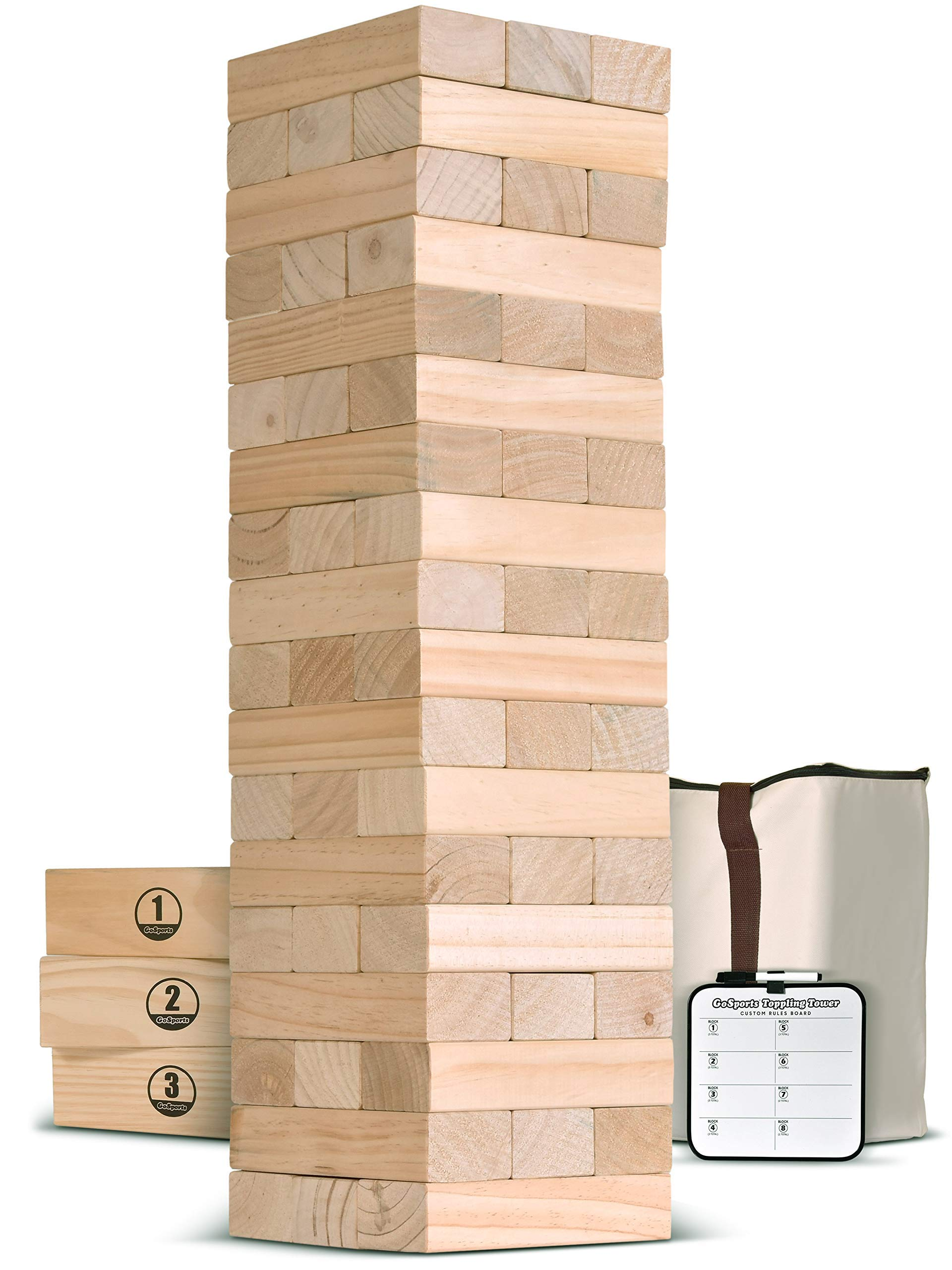 GoSports Giant Wooden Toppling Tower (Stacks to 5+ feet) | Includes Bonus Rules with Gameboard | Made from Premium Pine Blocks (Renewed)