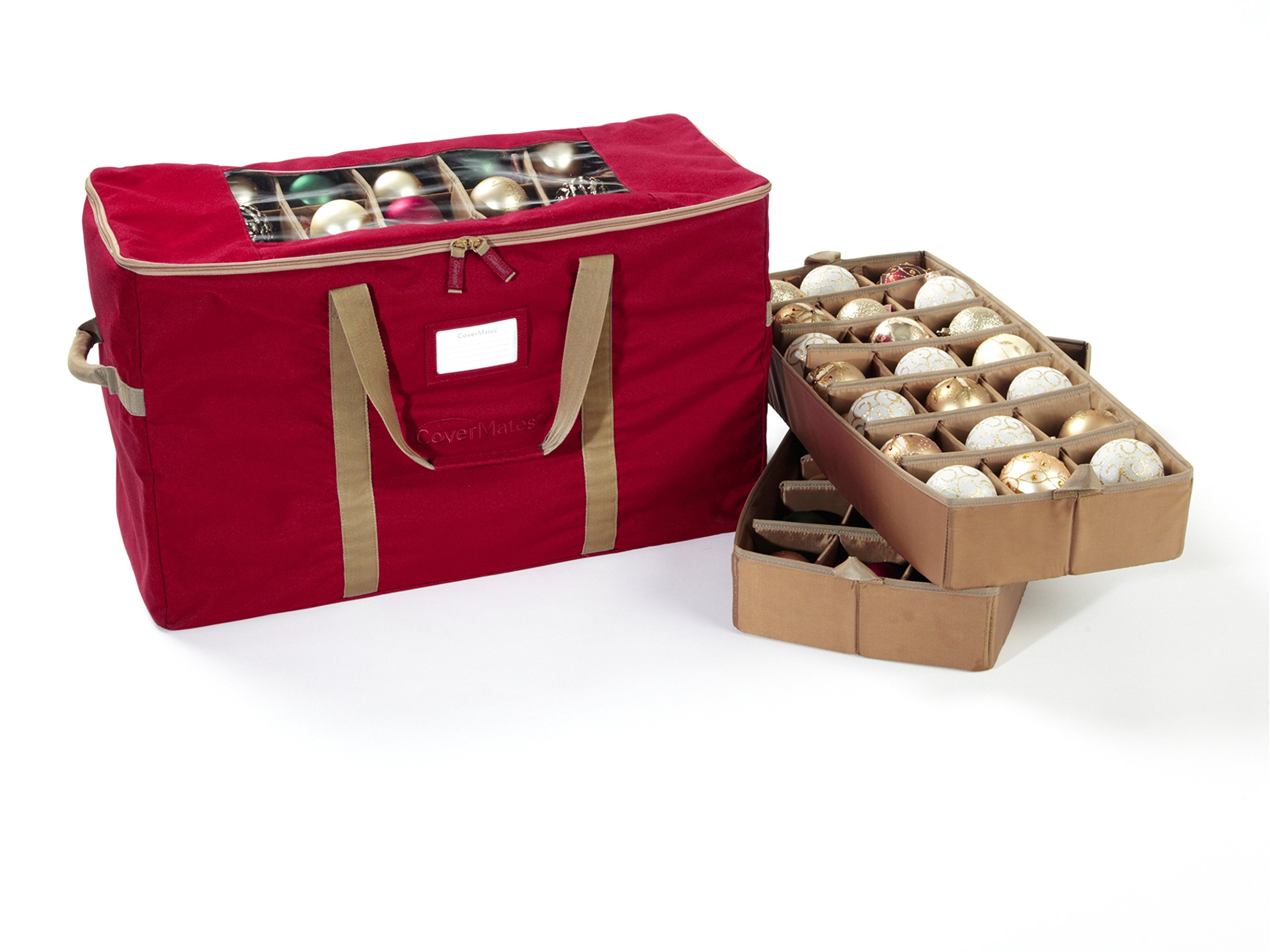 CoverMates – 84PC Holiday Ornament Storage Bag – 3 Year Warranty- Red