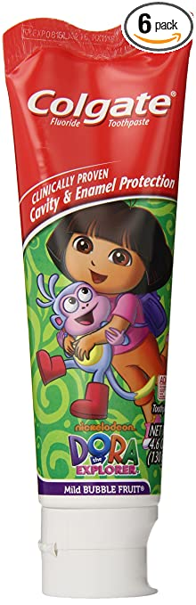 Colgate Dora The Explorer Fluoride Toothpaste, Mild Bubble Fruit Flavor, 4.6 Ounce (Pack of 6)