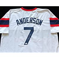 Tim Anderson Signed Autographed White Throwback Baseball Jersey Beckett COA - Size XL - Chicago White Sox Great photo