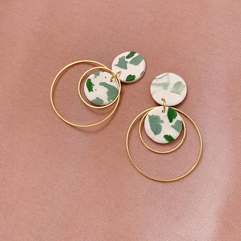 Mint terrazzo teal glitter circle polymer clay stud pack earrings