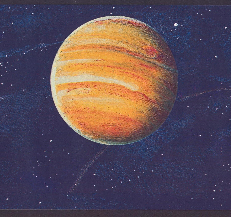 Pianeti Stars Galassia A Spirale Spazio Esterno Blu Navy Carta Da Parati Di Frontiera Per I Bambini Rotolo 15 X 6 RetroArt