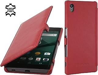 StilGut Book Type Case con Clip, Custodia in Pelle per Sony Xperia Z5 & Sony Xperia Z5 Dual, Rosso Nappa