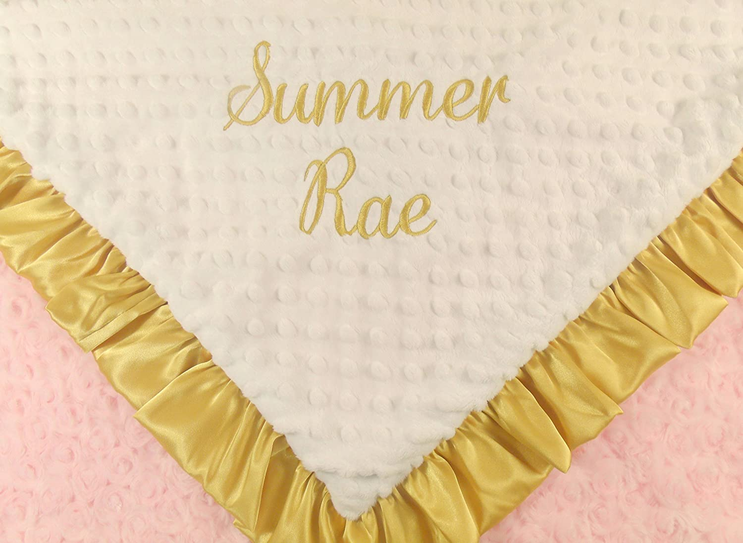 MinkyBabyGifts Personalized Minky Baby Girl Blanket Pink Gold