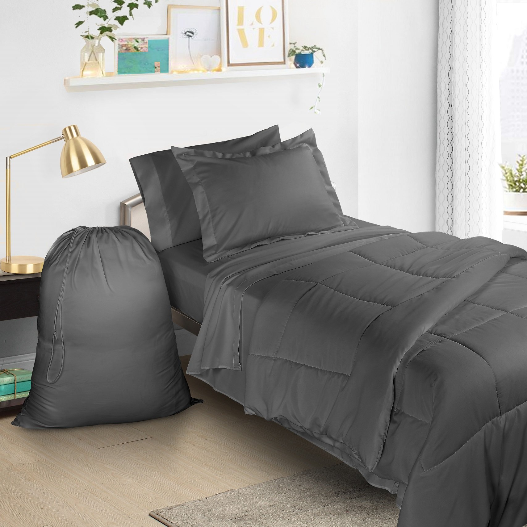 Clara Clark 6 Piece Bed In A Bag Bedding Comforter Set, Twin/X-Large, Charcoal Gray