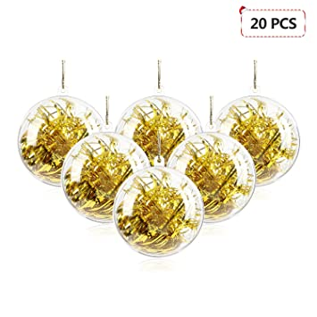 Mbuynow 20 Pack 50mm Clear Ornaments Balls Diy Plastic Fillable Christmas Decorations Tree Balls Baubles Craft Transparent Ball Gifts For Wedding