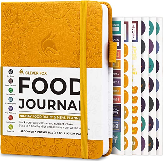 Amazon.com : Clever Fox Food Journal Pocket Size - Daily Food Diary, Meal Tracker & Planner for Purse, Calorie and Nutrition Log, for Sticking to a Healthy Diet & Achieving Weight Loss Goals - Amber Yellow : Sports & Outdoors
