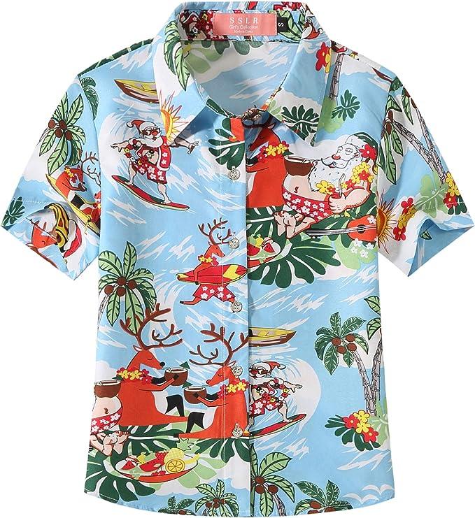 Playa Aloha Party Camp de Manga Corta Camisas Hawaianas para ni/ños con Estampado de Flores de Hibisco Alvish