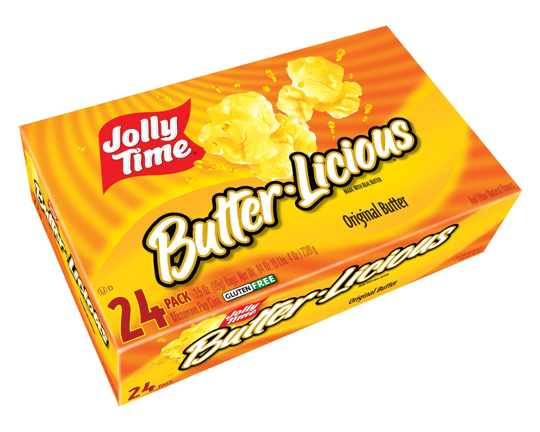 Jolly Time Butter-Licious Original Butter Microwave Popcorn Gluten-Free, Bulk 24-Count Box