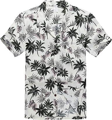 Hombres Aloha Camisa Hawaiana en Hibisco y Hoja de Palma Rojo: Amazon.es: Ropa y accesorios