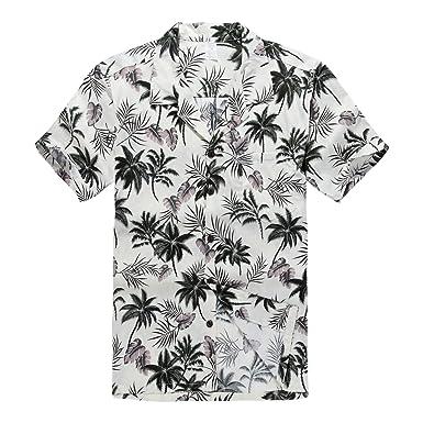 Shirts Hawaïenne D'hommes D'aloha Et Chemise T Palmes Blanc xPtwvvpg