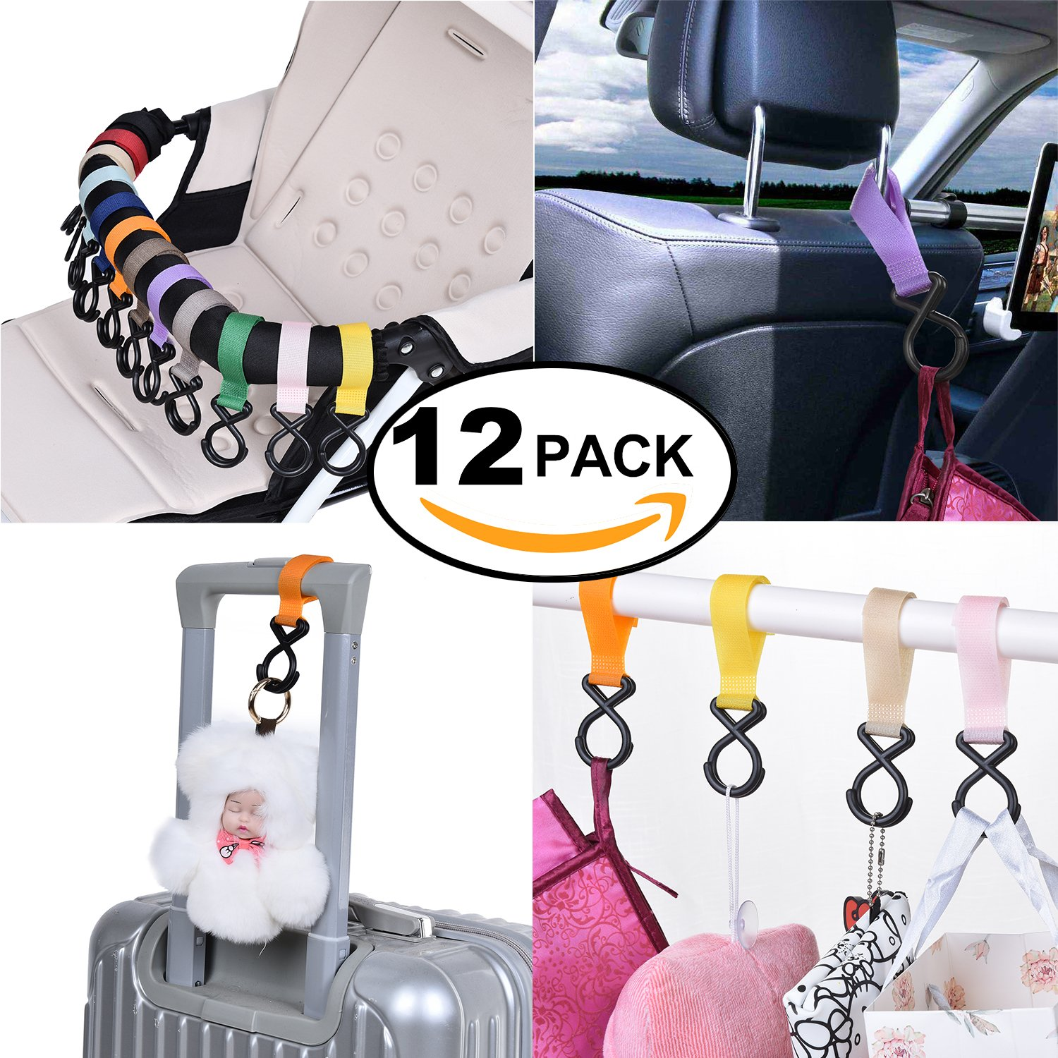 APURSUE 12 Pack Stroller Hooks Baby Stroller Accessories, Multi Purpose Hooks for Home Office, Automotive Car Seat Headrest Hooks Door & Seat Back Organizers Hanging Handbags Hangers Bottle Cup Holder