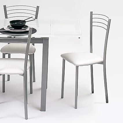 Silla de cocina metálica COLINA, con asiento tapizado PU blanco ...
