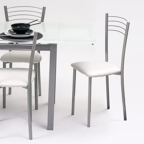 Homely Silla de cocina metálica COLINA, con asiento tapizado PU ...