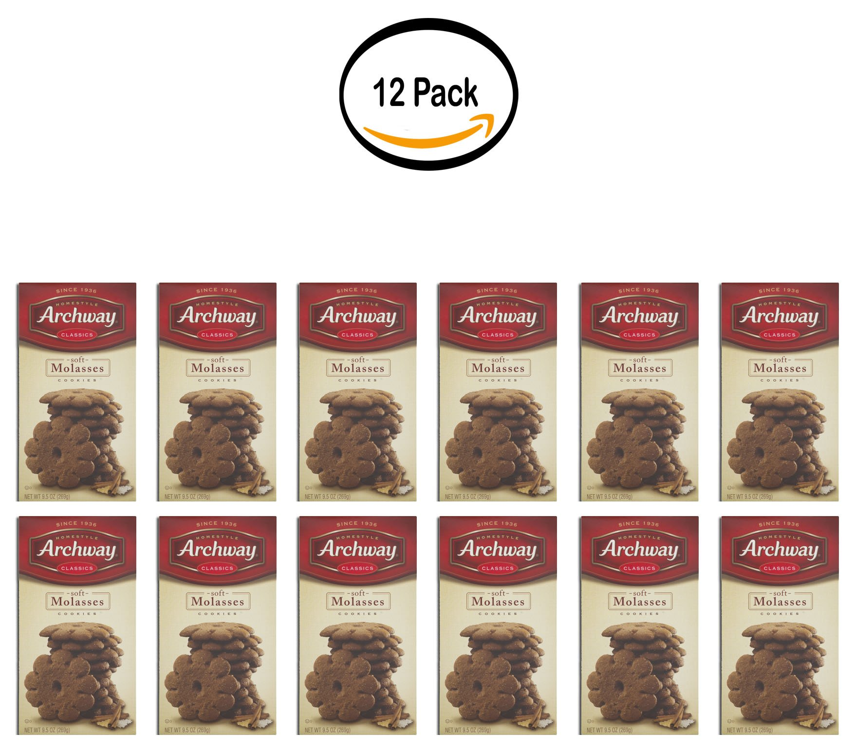 PACK OF 12 - Archway Classics Soft Molasses Cookies, 9.5 OZ