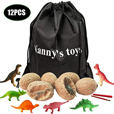 12 Dino Eggs Dig Kit--Best Dinosaur Fossil Excavation Eggs Kit with 12 Cute Dino Figures, Dig Up! Great Dino Eggs Toy, Best Science STEM Gift and Party Favors for Kids: Toys & Games