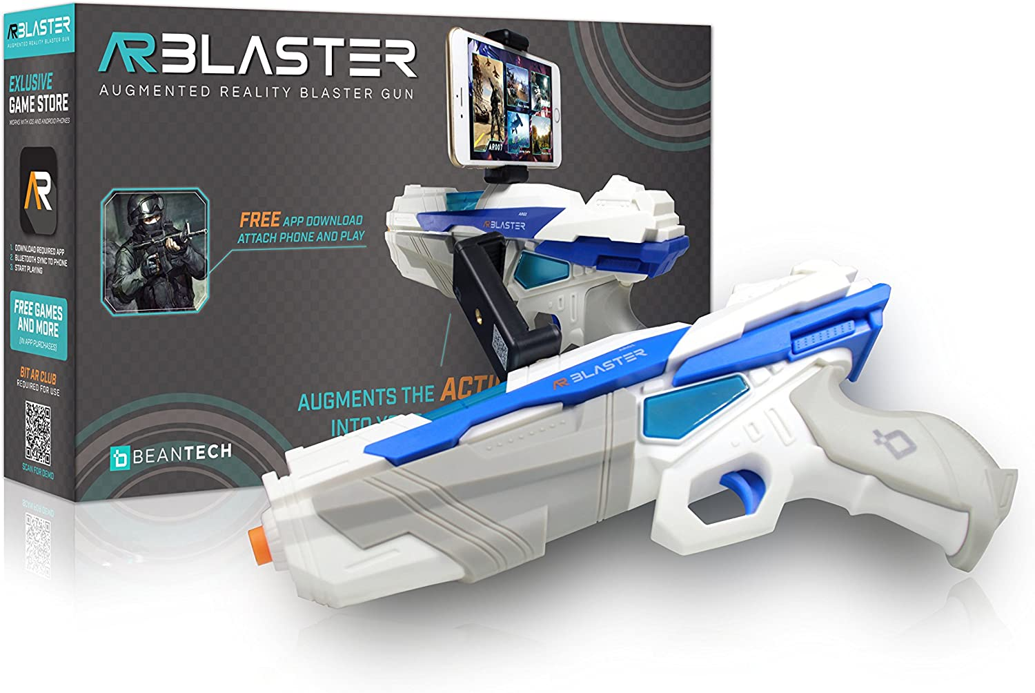 AR Blaster - 360° Augmented Reality Video Game - Smart Phone Toy Gun Controller for iPhone & Android phones - Bluetooth 4.2 - for Boys and Girls, Kids, ...