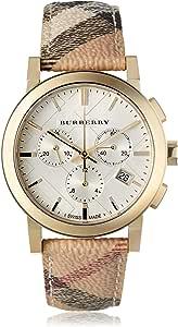 Burberry Women's BU9752 The City White Plaid Leather Watch