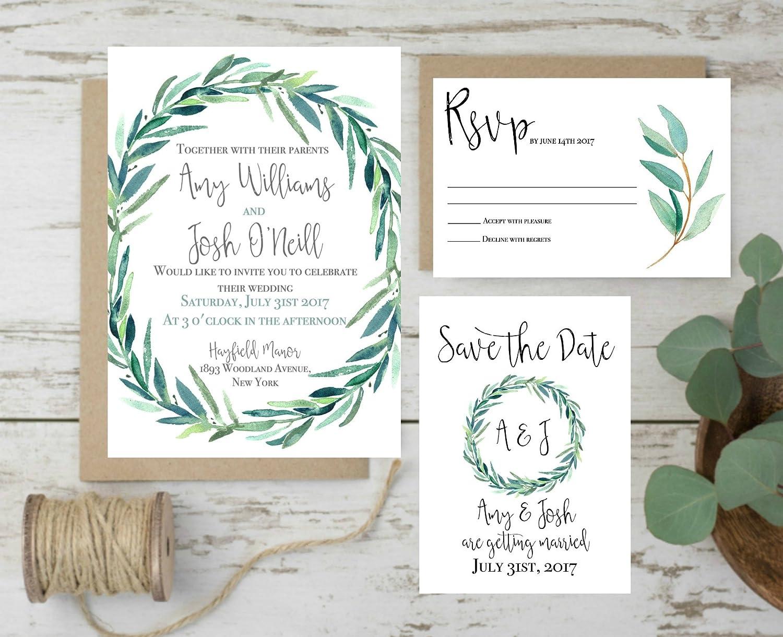 Amazon.com: Wedding Invitations Set, Rustic Wedding Invites ...