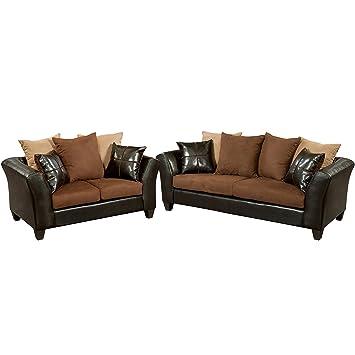 Amazon.com: Flash Furniture Riverstone Sierra Chocolate Microfiber ...