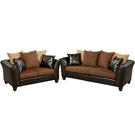 Amazon.com: Flash Furniture Riverstone Sierra Chocolate Microfiber ...