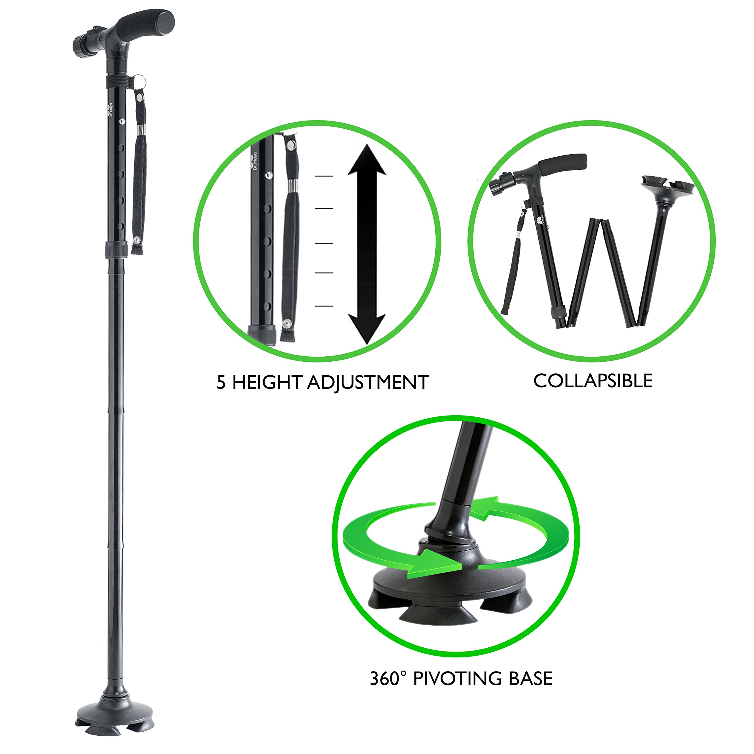 Walking Cane by Dr. Maya with Free Cane Tips & LED Lights - Lightweight, Adjustable, Foldable, Pivoting Base, Quad Travel Balance Stick Support for Elderly Men and Women - Walker Gift for Seniors! by Dr. Maya (Image #3)