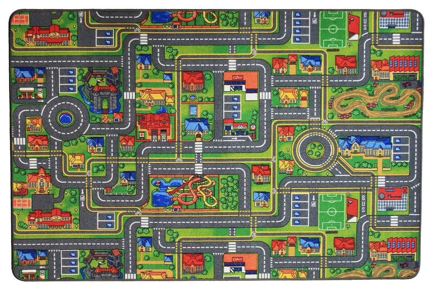 Spielteppich Autoteppich Straßenteppich Streets - 200x300cm, Anti-Schmutz-Schicht, Auto-Spielteppich für Mädchen & Jungen, Kinderteppich Strasse Fußbodenheizung geeignet
