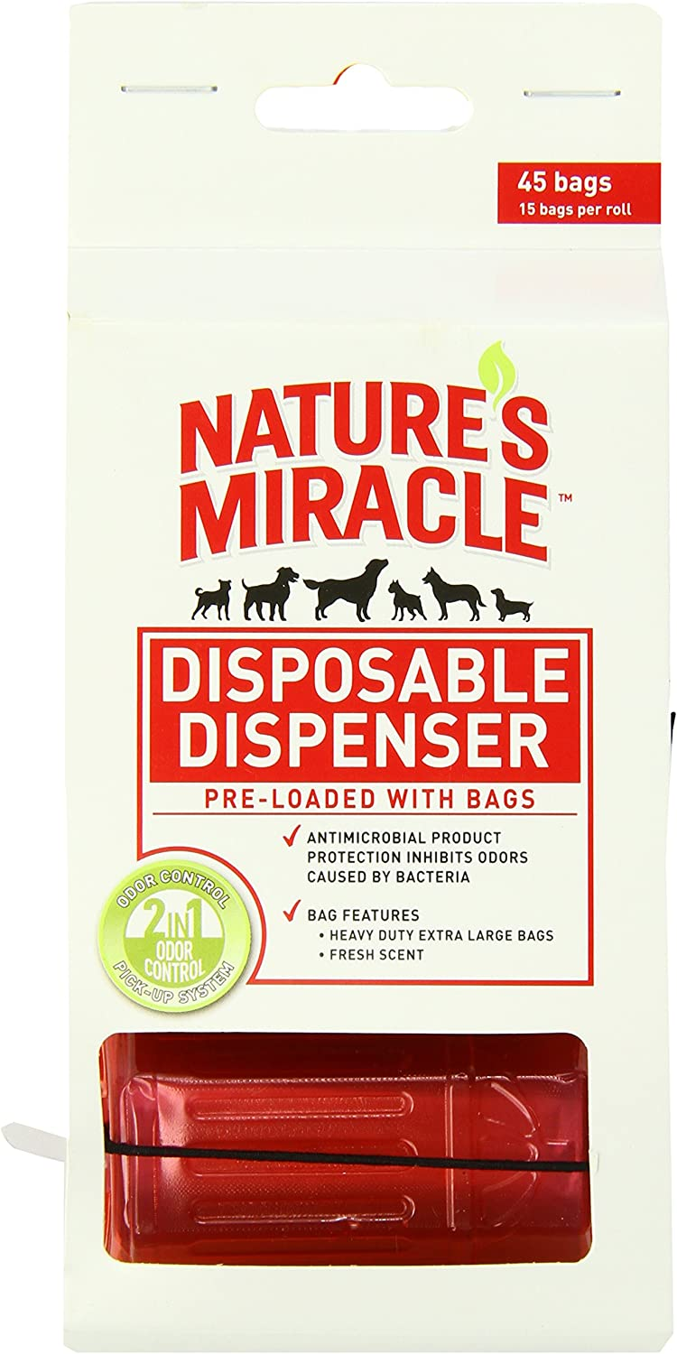 Nature's Miracle NM-5980 45 Count Disposable Waste Bag Dispenser with Pick-Up Bags, Hydrant Shape