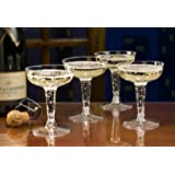 Toasted Drinkware Hard Plastic Clear Two Piece 4 oz Champagne Glasses, 40 Count