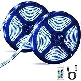 OMERIL Tira LED RGB 6M Impermeable, Tiras LED USB con Control Remoto, 4 Modos de Brillo y 16 Colores, Tira LED Regulable…