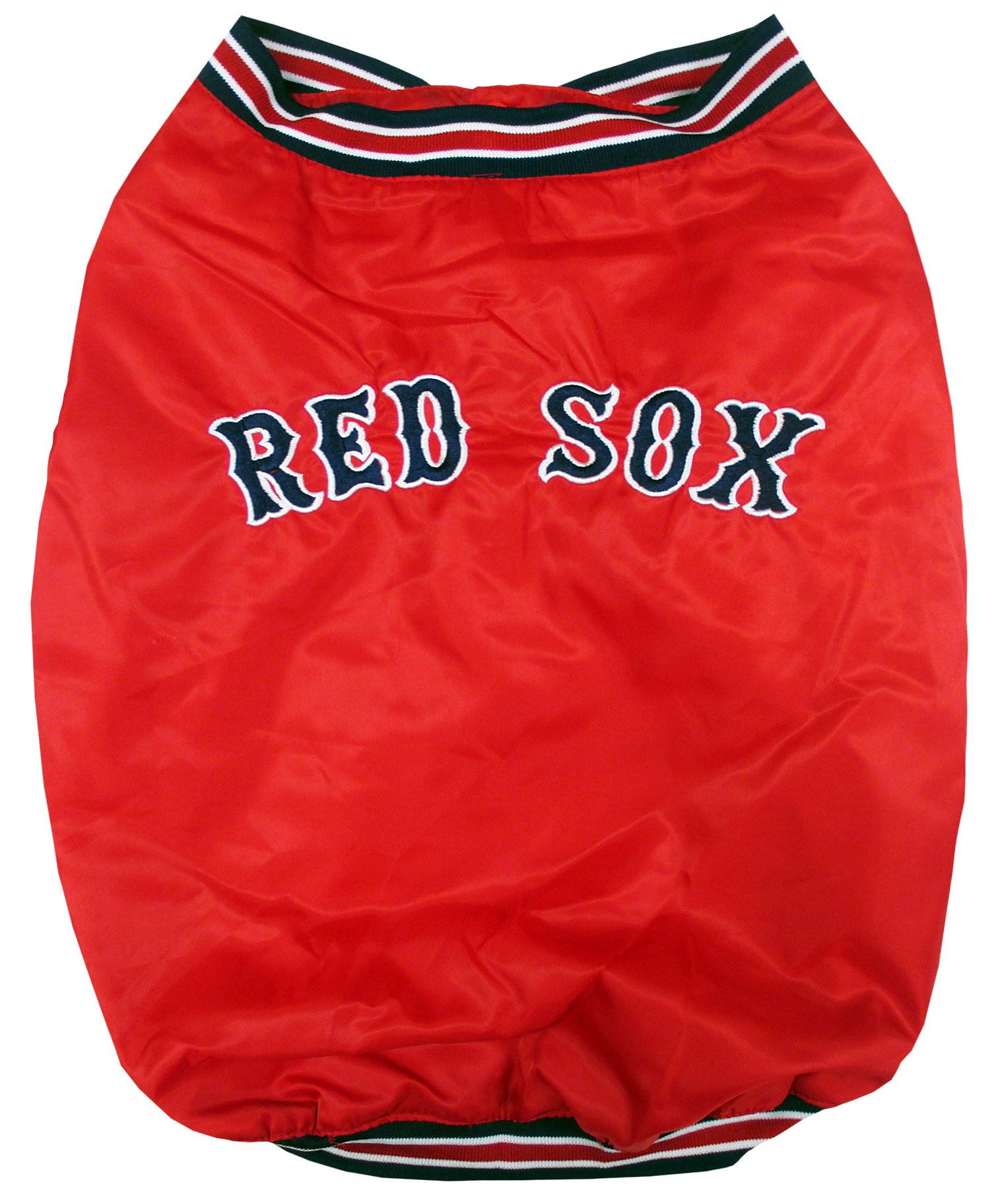 Pets First MLB BOSTON RED SOX DUGOUT JACKET for DOGS & CATS, Small. - Warm, Team Color & LOGO with Velcro closure