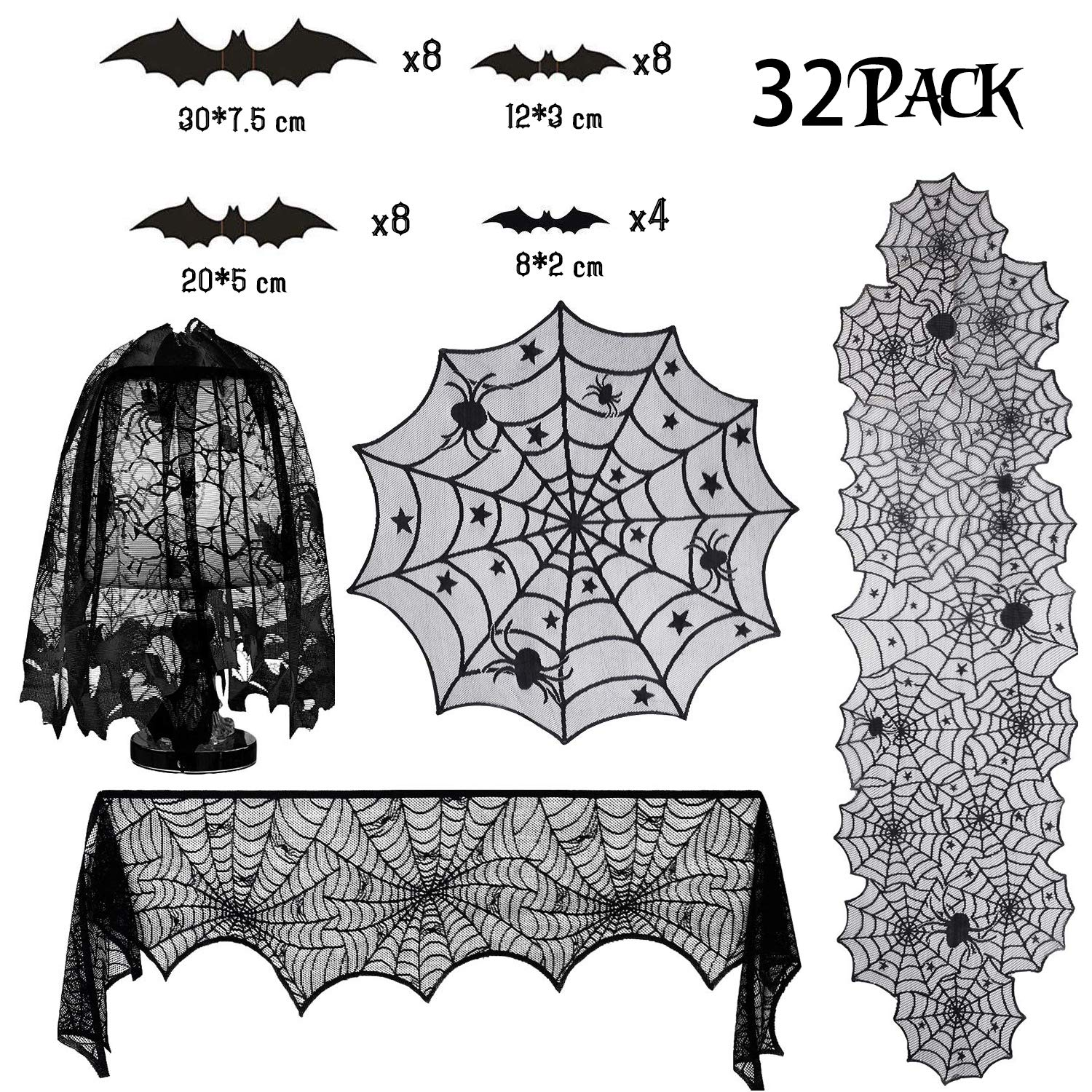 32-Pack Halloween Decorations Sets, Halloween Tablecloth Spooky Bat Spiderweb Lace Tablecloth, Round Lace Table Cover, Halloween Lamp Shades, Fireplace Scarf Cover and Halloween 3D Bats Wall Stickers