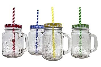 Set Htuk® da 4 bicchieri in di vetro, in stile barattolo Mason retrò ...