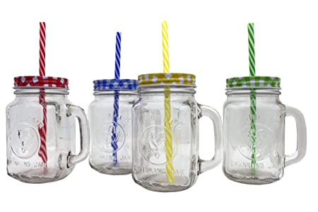 Perfect 4 RETRO MASON DRINKING GLASS JARS WITH COLOURED TIN AND LID STRAWS DRINKING  COCKTAIL GLASS MUGS