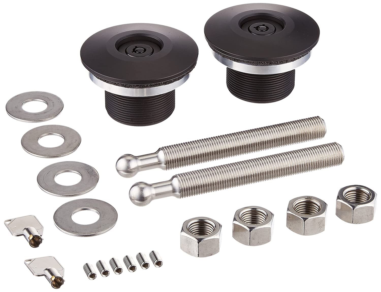 Quik-Latch Products QL-50L-LP//P Polished Aluminum Low Profile Locking Quick Release Hood Pin Kit