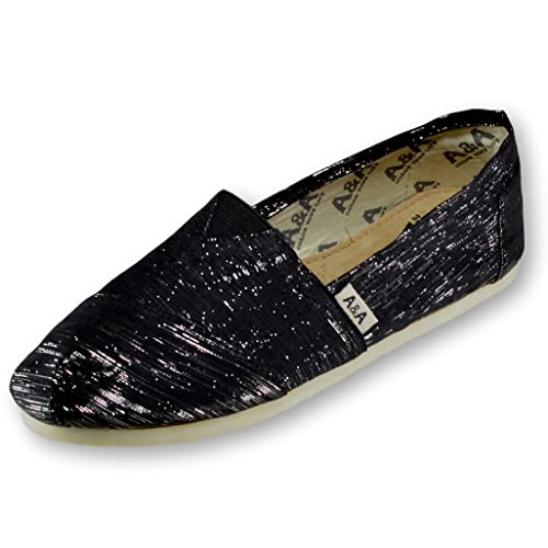 A&A Sparkly Black Espadrilles Flats Canvas Shoes Alpargatas for Women US5.5