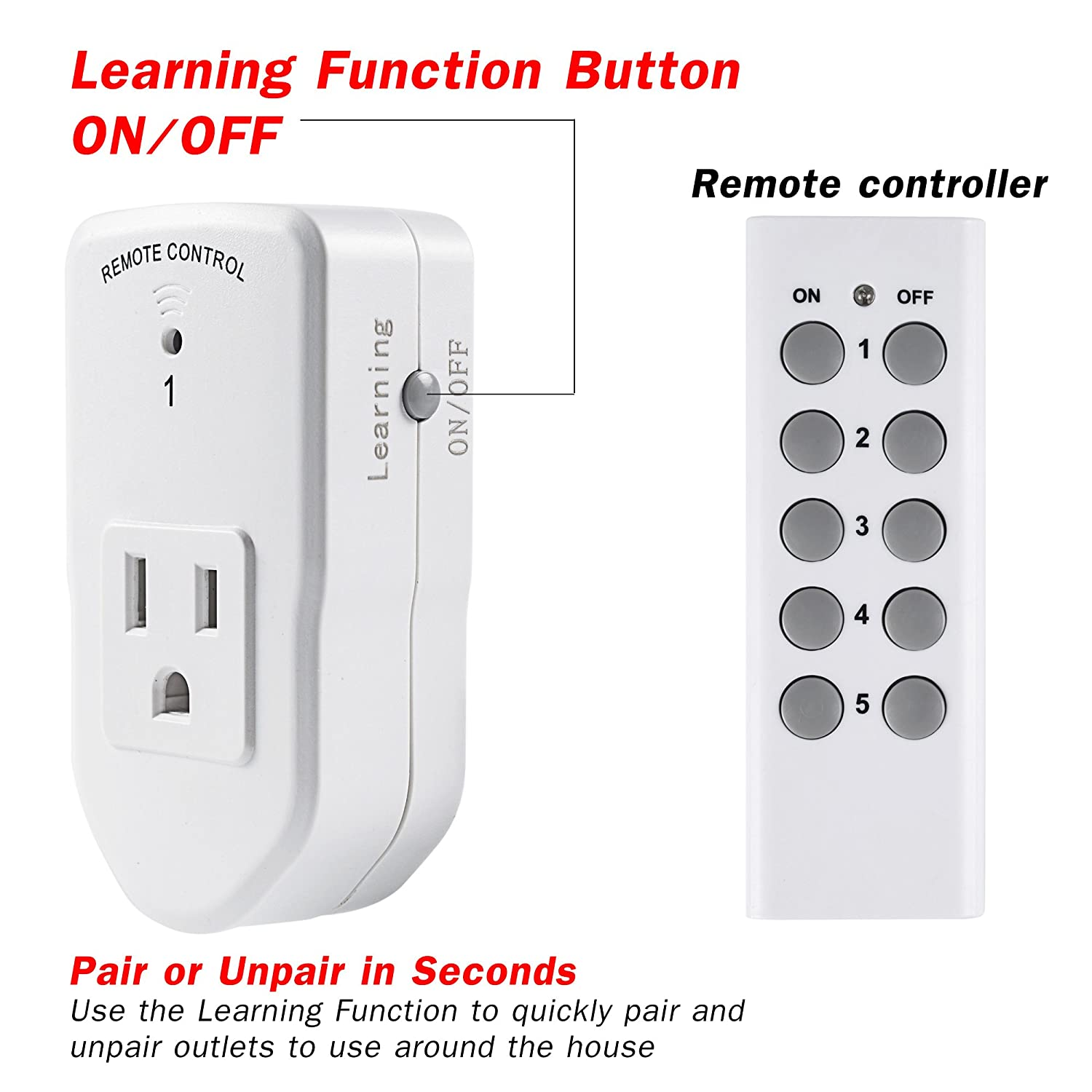 Home and Garden 3 Grounded Outlets With Remote Control Ideal for Decorative Lights Black Century Water Resistant Long Range Wireless Remote Control Electrical Outlet Switch Triple Socket