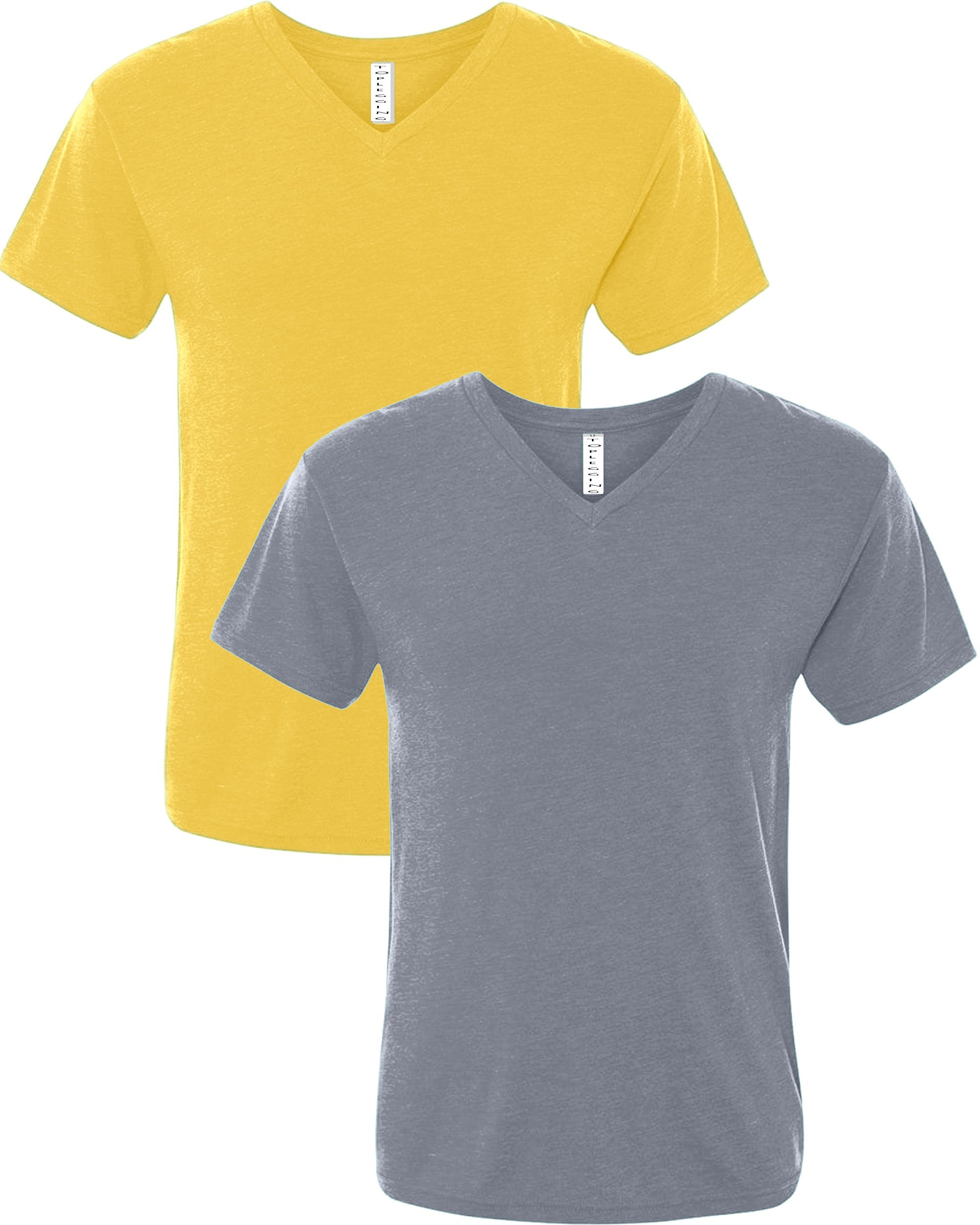 TOP LEGGING TL Men Casual Basic Short Sleeve Tri-Blend/100% Cotton V-Neck T Shirt HVNKSET2_HMUS_HDENIM XL