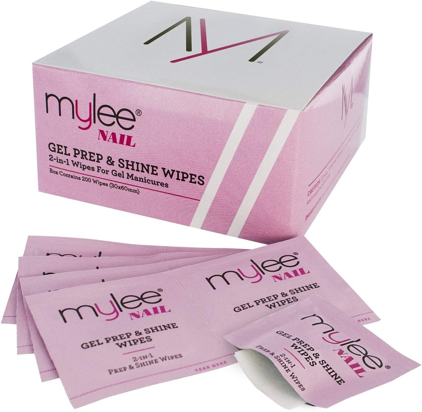 Mylee 200 Toallitas para Preparación y Acabado de la Manicura de Gel, Limpiador de Esmalte y Residuos Pegajosos para Uñas de GEL LED UV, Limpia la Base de la Uña Antes de la Manicura o Pedicura
