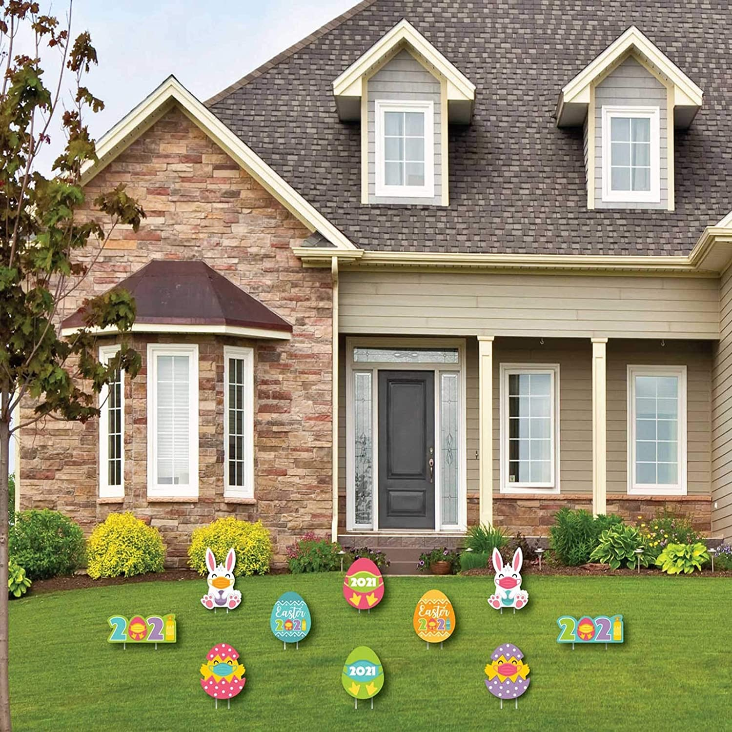 Outdoor Party Supplies D/écor Props Maxpex 10 Pcs Easter Yard Signs Decorations Outdoor Bunny Rabbit Chick and Eggs Yard Stake Signs Easter Gnomes Lawn Yard Decor Ornaments for Easter Hunt Game