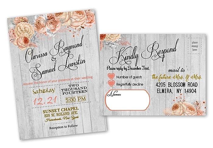 Amazoncom Peach Boho Wedding Invitations Rsvp Cards Set Of 30